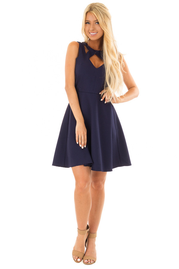 Navy Textured Dress with Neckline Cut Outs front full body