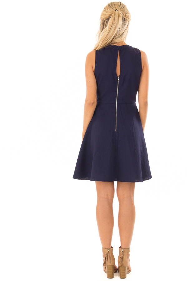 Navy Textured Dress with Neckline Cut Outs back full body