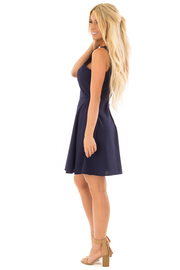 Navy Textured Dress with Neckline Cut Outs side full body