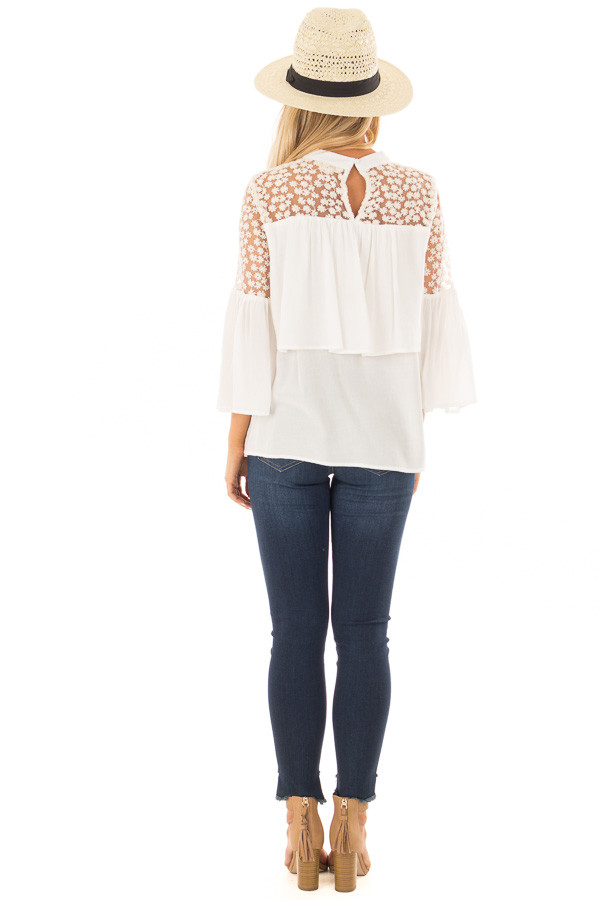 Off White High Neck Long Sleeve Blouse with Lace Detail back full body