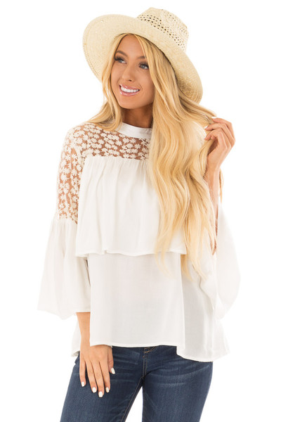 Off White High Neck Long Sleeve Blouse with Lace Detail front close up