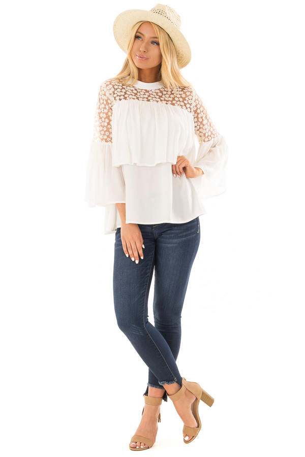 Off White High Neck Long Sleeve Blouse with Lace Detail front full body