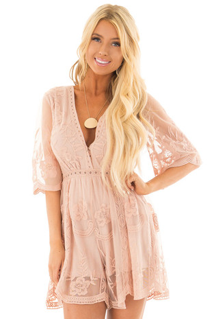 Blush Floral Lace Romper with Sheer Sleeves front close up