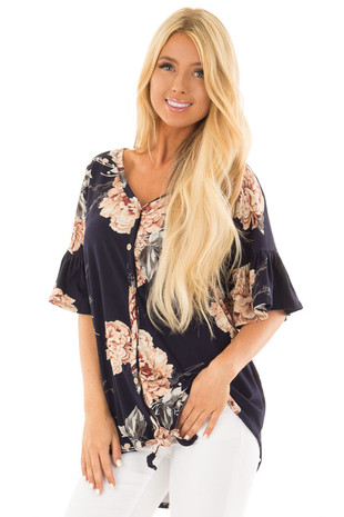 Navy Floral Tunic Top with Button Detail front close up
