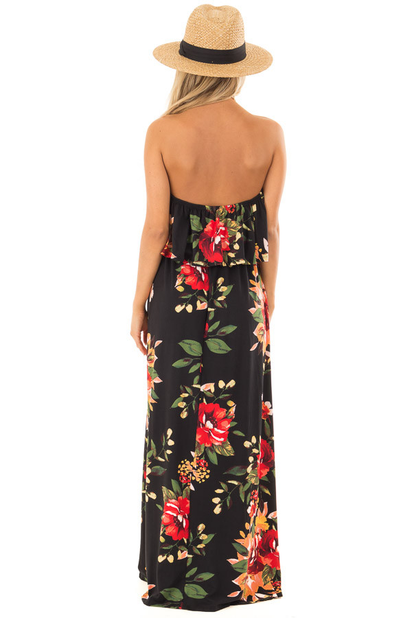 Black Floral Print Strapless Maxi Dress with Pockets back full body