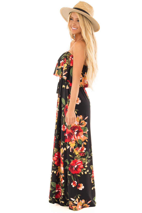 Black Floral Print Strapless Maxi Dress with Pockets side full body
