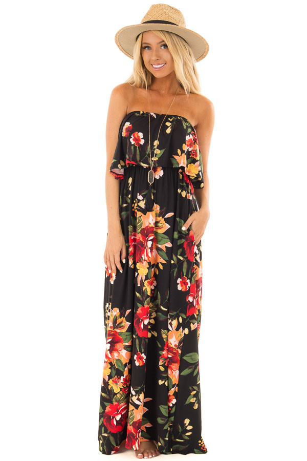 Black Floral Print Strapless Maxi Dress with Pockets front full body