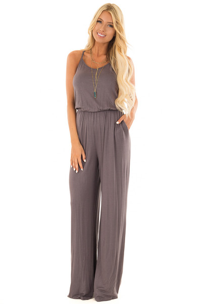 Charcoal Sleeveless Wide Leg Jumper front full body