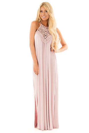 Blush Sleeveless Maxi Dress with Front Lace Detail front full body