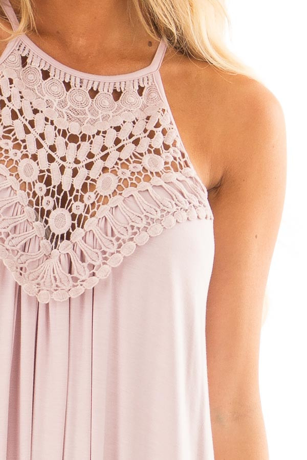 Blush Sleeveless Maxi Dress with Front Lace Detail detail
