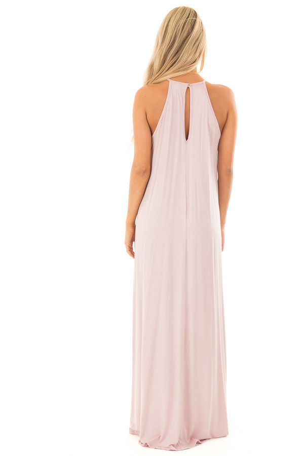 Blush Sleeveless Maxi Dress with Front Lace Detail back full body
