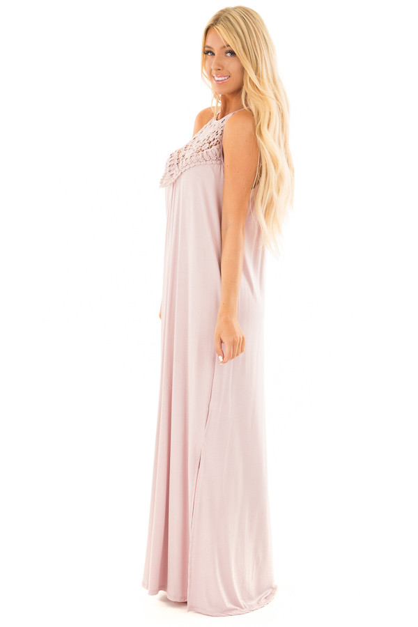 Blush Sleeveless Maxi Dress with Front Lace Detail side full body