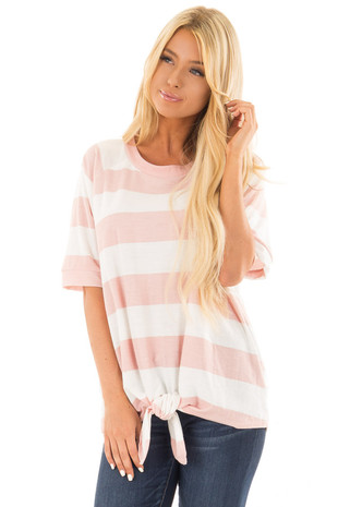 Blush and White Striped Top with Front Tie Detail front close up