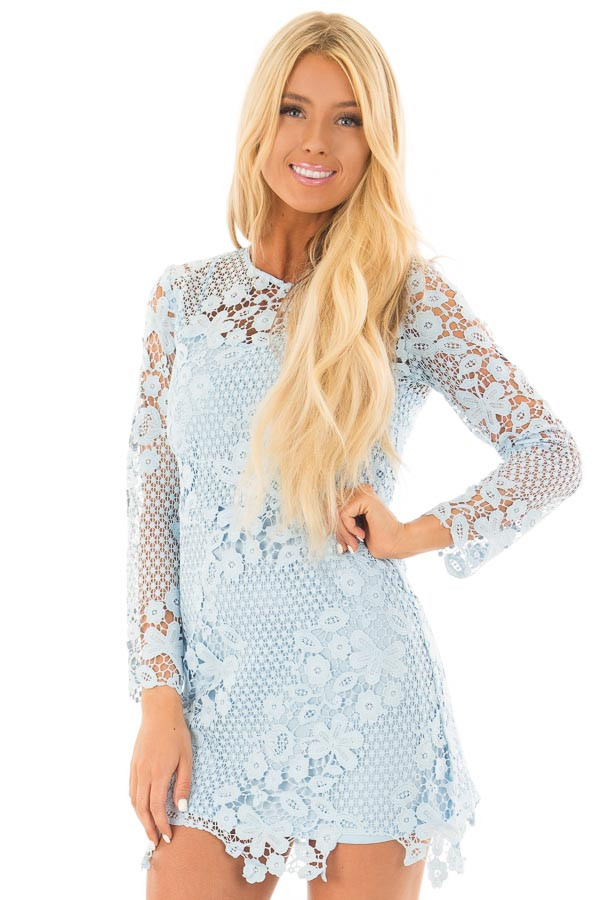 Sky Blue Long Sleeve Lace Dress front close up