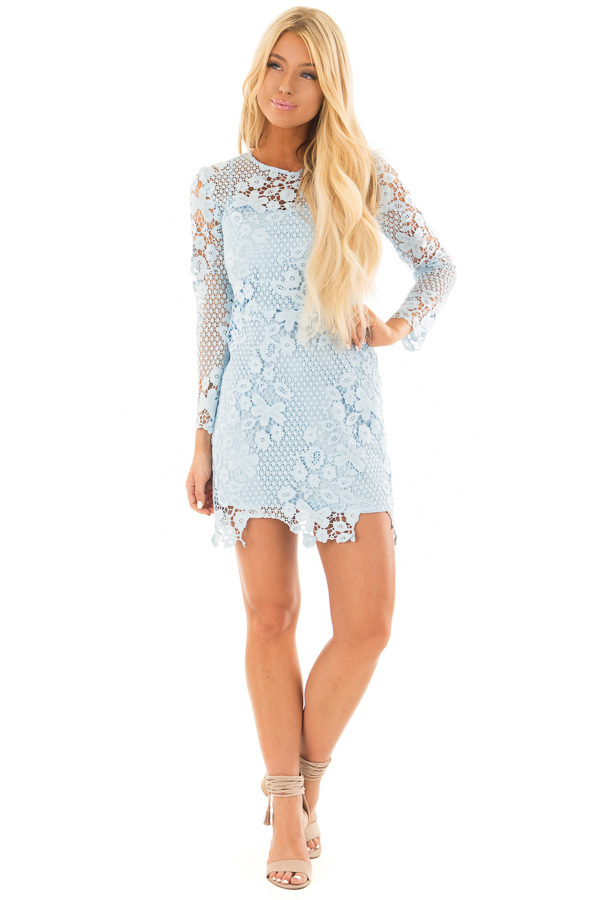 Sky Blue Long Sleeve Lace Dress front full body