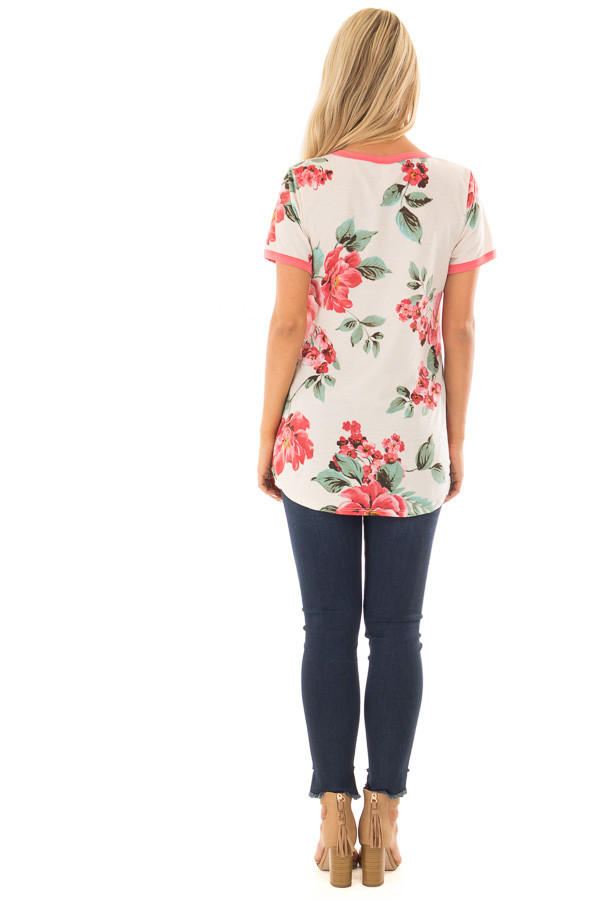 Cream Large Print Floral Short Sleeve Top with Rose Trim back full body