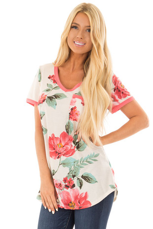 Cream Large Print Floral Short Sleeve Top with Rose Trim front close up