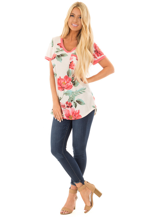 Cream Large Print Floral Short Sleeve Top with Rose Trim front full body