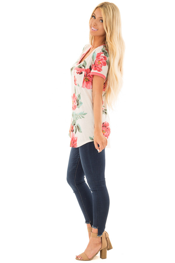 Cream Large Print Floral Short Sleeve Top with Rose Trim side full body