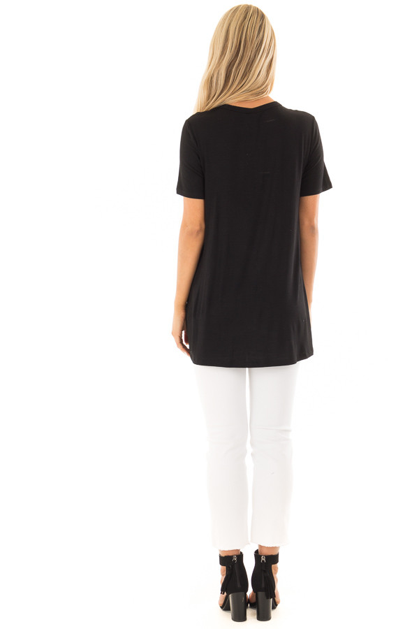 Black Short Sleeve Tee with Knotted Cut Out Detail back full body