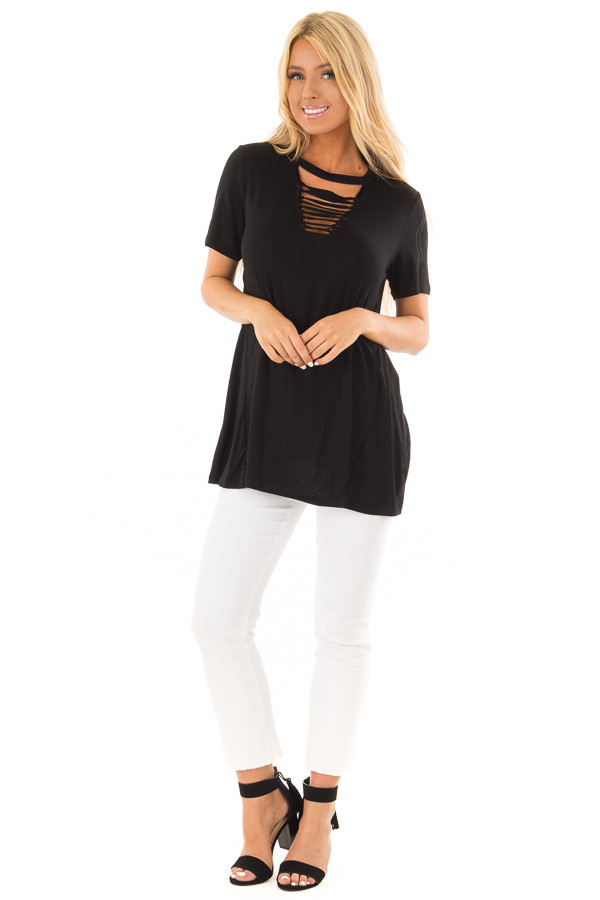 Black Short Sleeve Tee with Knotted Cut Out Detail front full body