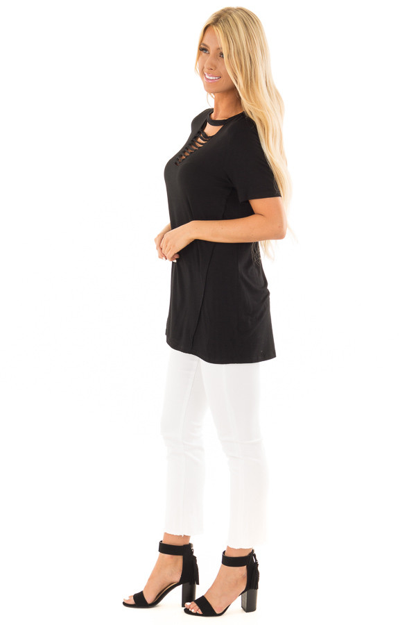 Black Short Sleeve Tee with Knotted Cut Out Detail side full body