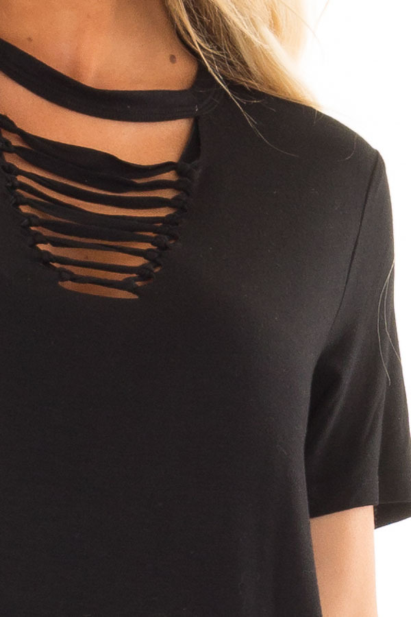 Black Short Sleeve Tee with Knotted Cut Out Detail detail