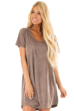 Light Mocha Super Soft Faux Suede Tee Shirt Dress back close up