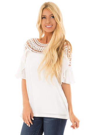 White Ruffle Top with Sheer Lace Detail front close up