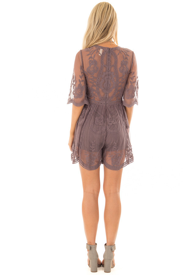 Midnight Floral Lace Romper with Sheer Sleeves back full body