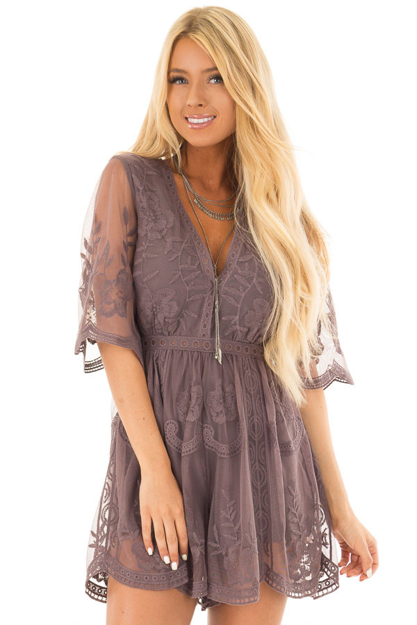 Midnight Floral Lace Romper with Sheer Sleeves front close up