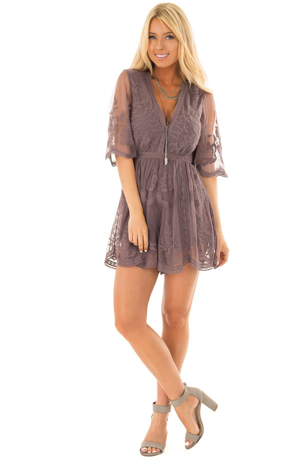 Midnight Floral Lace Romper with Sheer Sleeves front full body