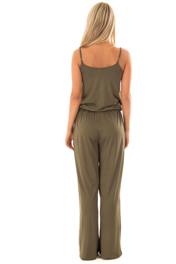 Olive Sleeveless Jumpsuit with Waist Tie and Side Pockets back full body