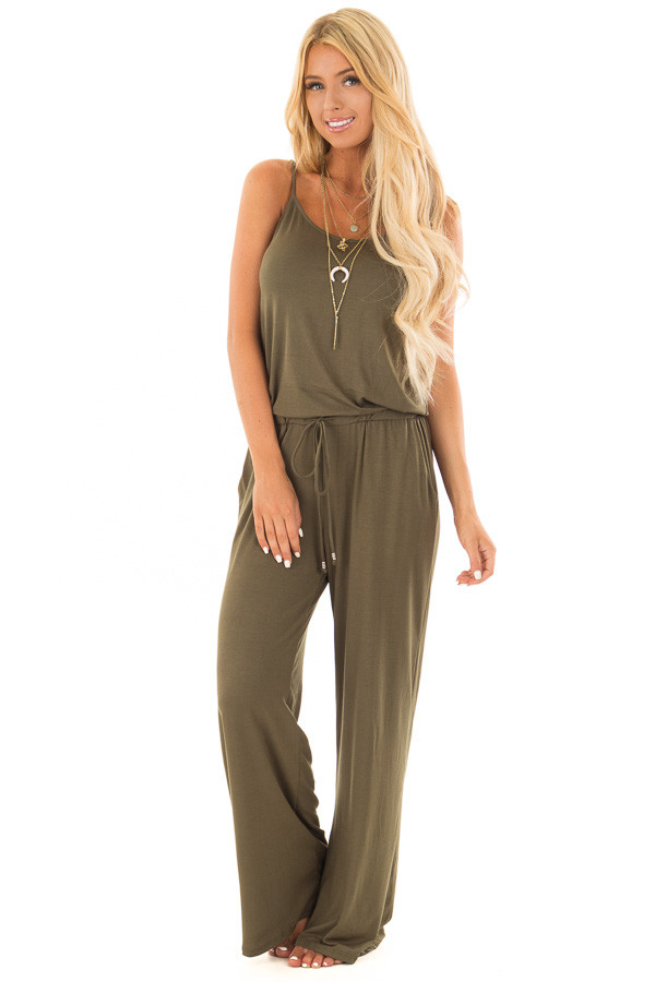 Olive Sleeveless Jumpsuit with Waist Tie and Side Pockets front full body