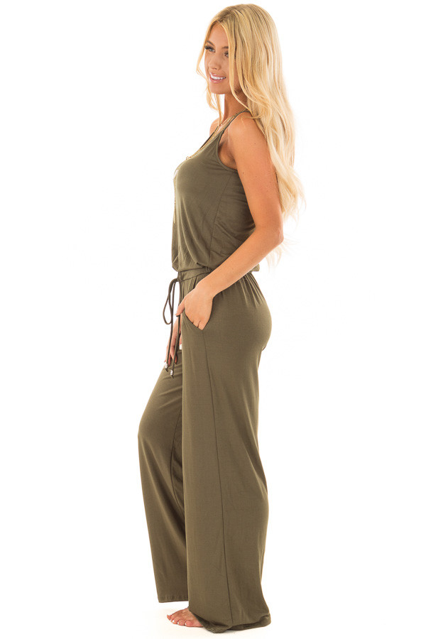 Olive Sleeveless Jumpsuit with Waist Tie and Side Pockets side full body