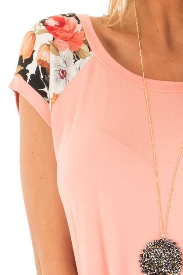 Coral Comfy Tee with Floral Print Short Sleeves detail