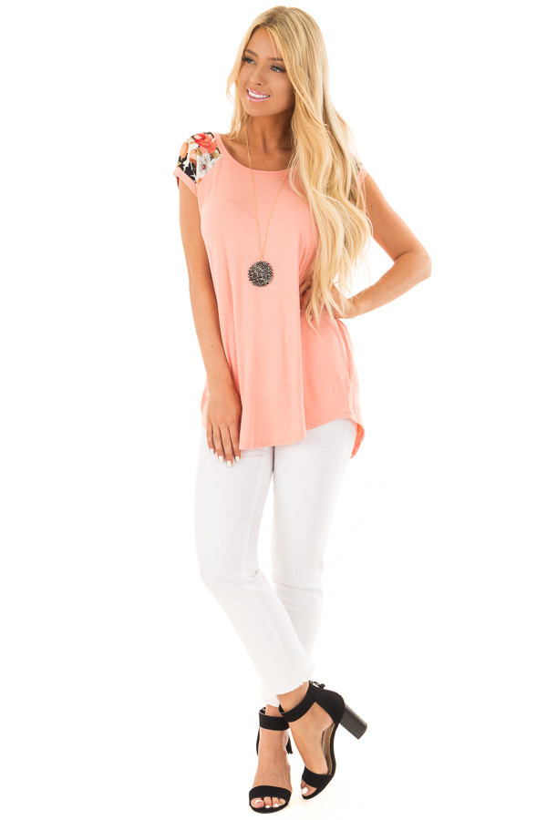 Coral Comfy Tee with Floral Print Short Sleeves front full body