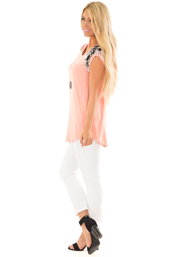 Coral Comfy Tee with Floral Print Short Sleeves side full body