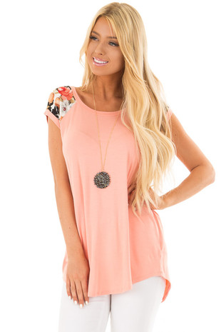 Coral Comfy Tee with Floral Print Short Sleeves front close up