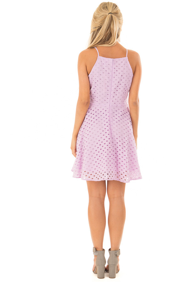 Lilac Fit and Flare Eyelet Dress back full body