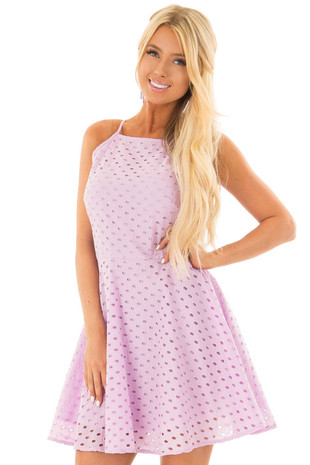 Lilac Fit and Flare Eyelet Dress front close up