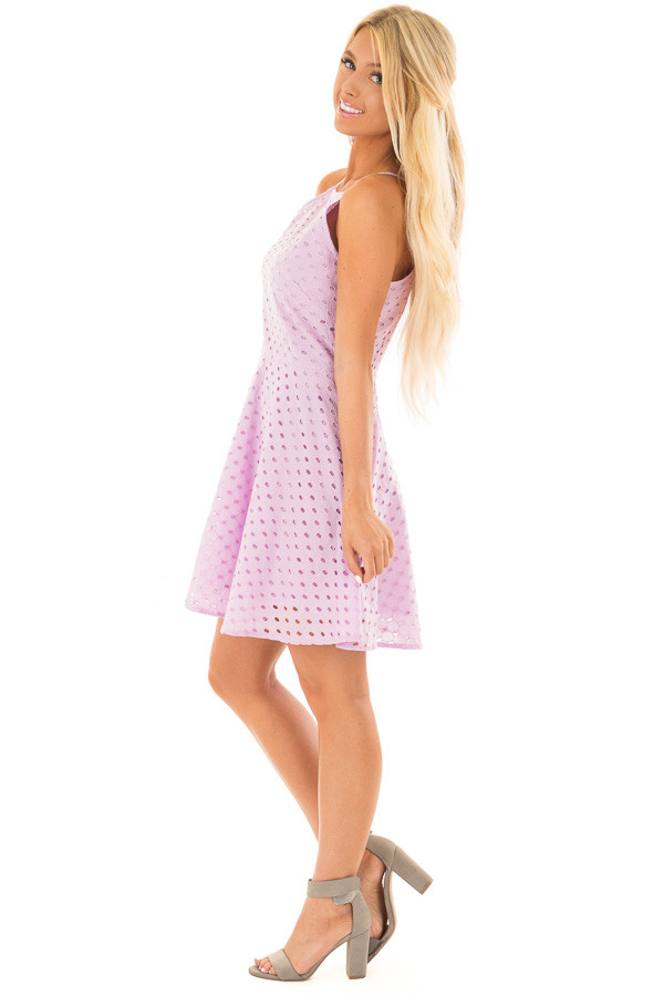 Lilac Fit and Flare Eyelet Dress side full body