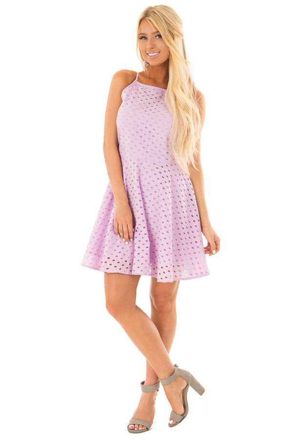 Lilac Fit and Flare Eyelet Dress front full body