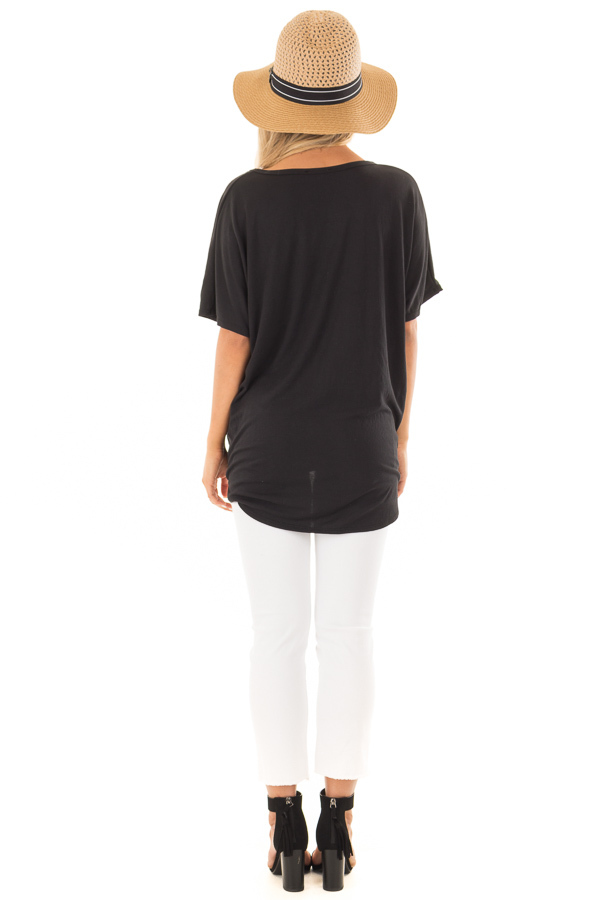 Black Button Down Top with Short Dolman Sleeves back full body