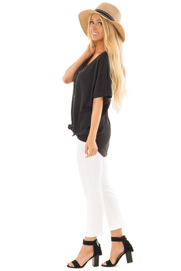 Black Button Down Top with Short Dolman Sleeves side full body