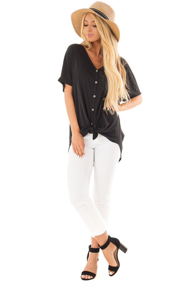 Black Button Down Top with Short Dolman Sleeves front full body