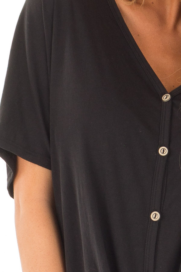 Black Button Down Top with Short Dolman Sleeves detail