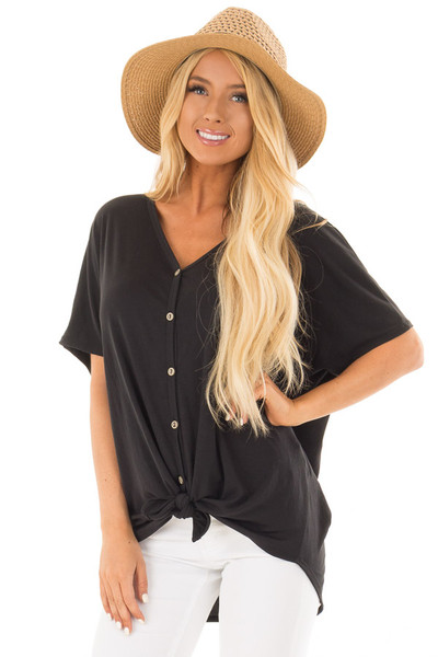 Black Button Down Top with Short Dolman Sleeves front close up