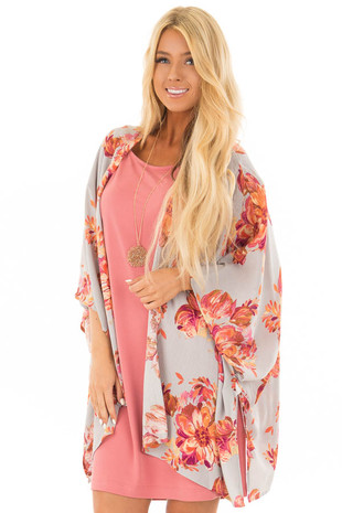 Heather Grey Floral Print Kimono front close up