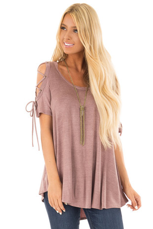 Mauve Mineral Wash Tee Shirt with Lace Up Cold Shoulders front close up